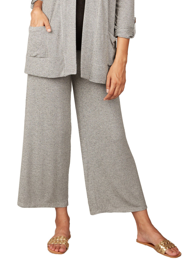 PISTACHE - HEATHERED WIDE LEG PANT