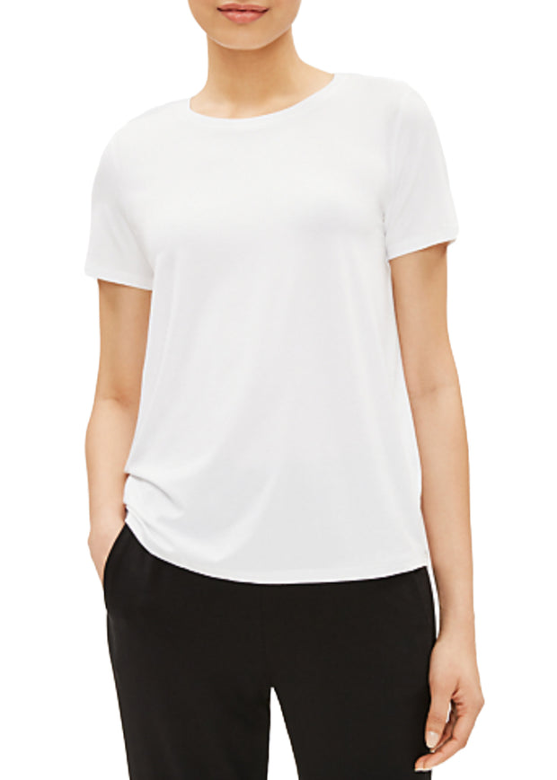 EILEEN FISHER - THE SYSTEM - ROUND NECK CAP SLEEVE TOP - 1043306