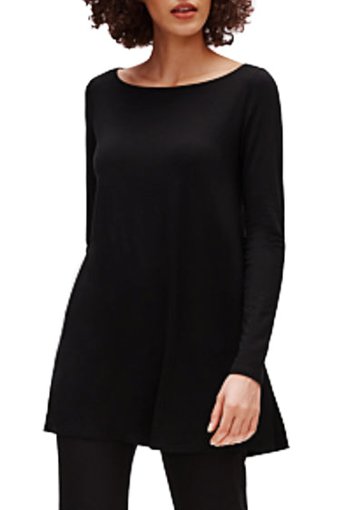 EILEEN FISHER - THE SYSTEM -  SILK BATEAU NECK LONG SLEEVE TOP - 1055448