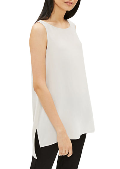 EILEEN FISHER - THE SYSTEM- SILK BATEAU NECK LONG SHELL - 1055970