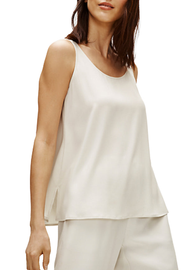 EILEEN FISHER - THE SYSTEM  - SCOOP NECK SILK TANK - 1056002