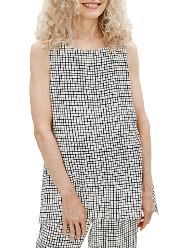 EILEEN FISHER - GRID LONG SHELL TANK