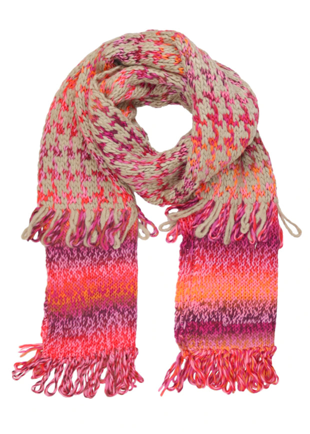 HOUNDSTOOTH KNIT SCARF - RASPBERRY