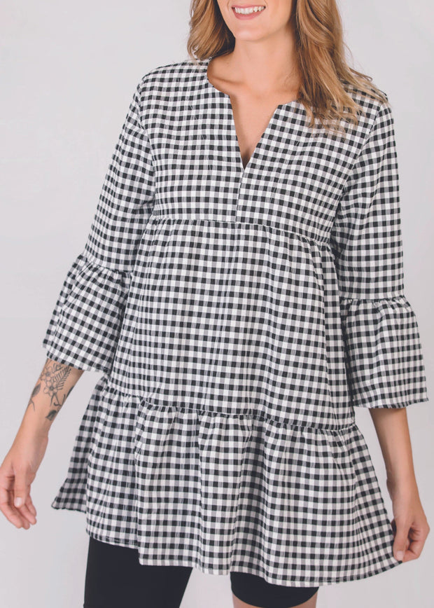 SHANNON PASSERO - GATHERED TIERED 3/4 SLEEVE TUNIC