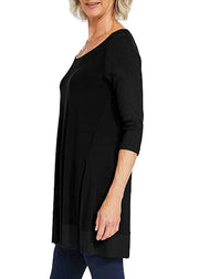 JERSEY MOTION TRIM RAGLAN SLEEVE TUNIC - BLACK