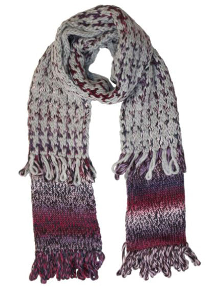 HOUNDSTOOTH KNIT SCARF BERRY MULTI