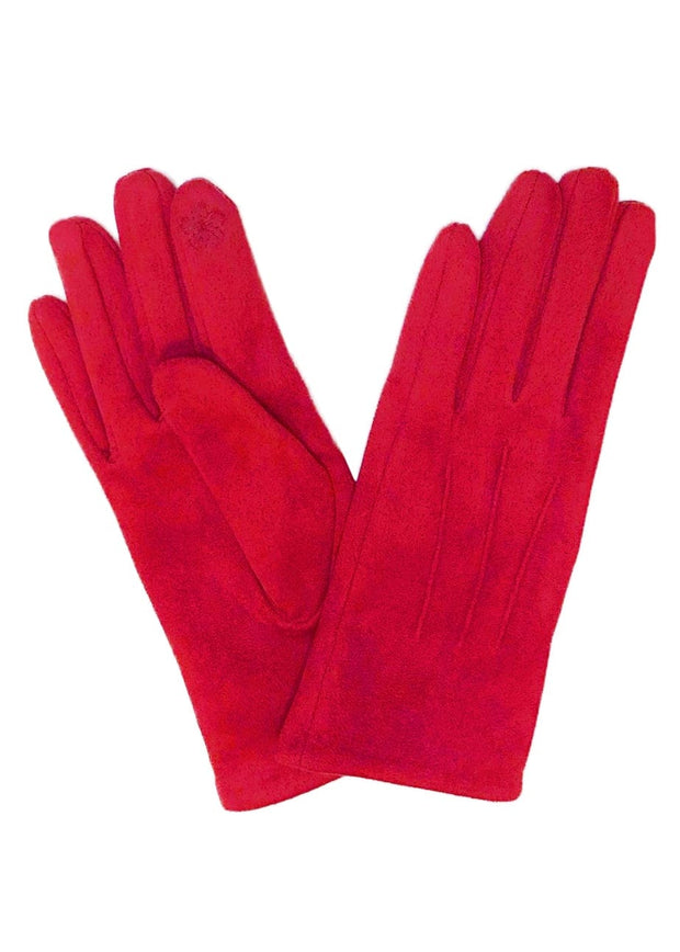 SUEDE SHORT GLOVES - RED