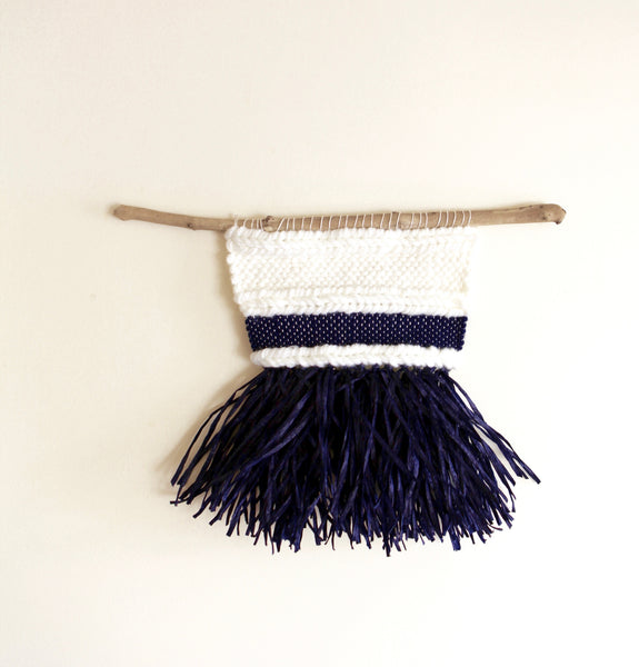 Weaving Wall Blue Raffia