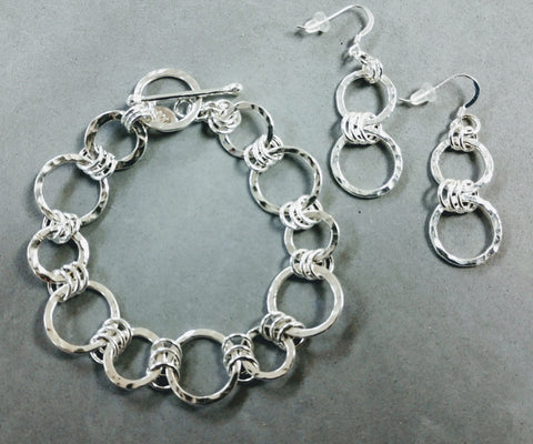 Sterling Silver Hammered Links Bracelet & Earrings Class with Sue Wade: April 4, 1:30 - 5:30pm | Class Sign Up
