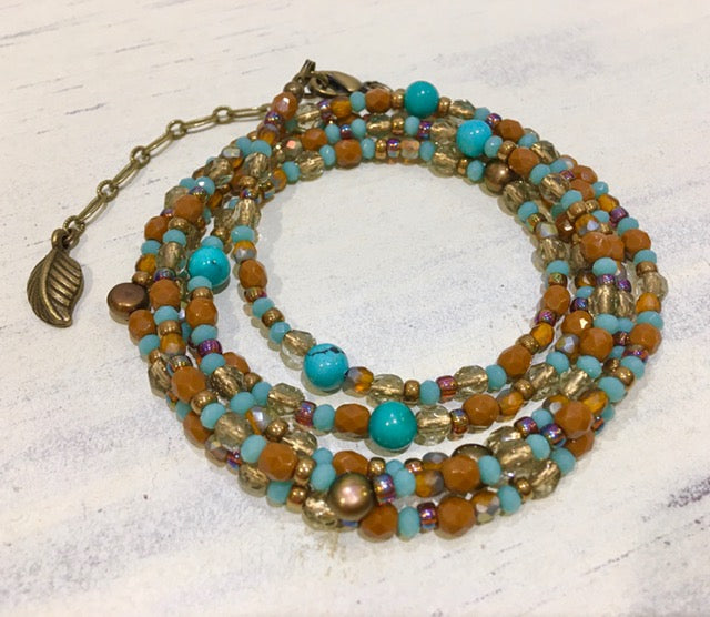 Firepolish Frenzy Bracelet/Necklace Kit - Brown/Turquoise