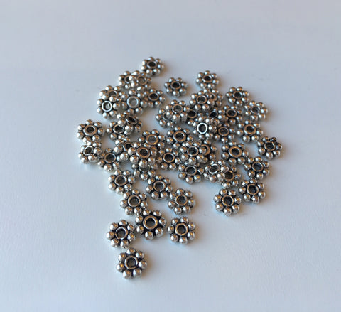 Pewter Daisy Spacer, 50ct
