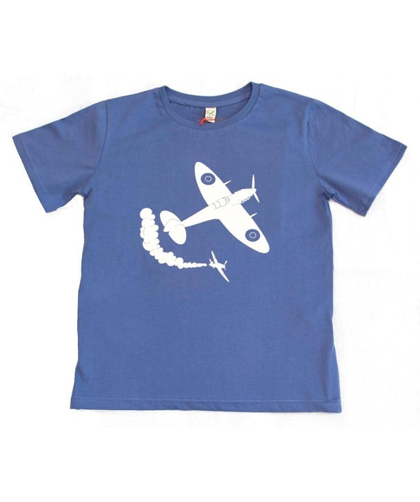 Little Wings Child's Spitfire Tee Shirt in Faded Denim