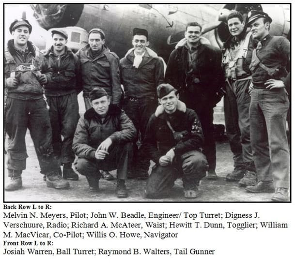Hewitt Dunn back row third from right with B-17 Crew