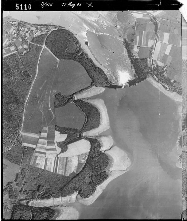 Aerial Photo of Mohne Dam after Dambusters Raid 1943