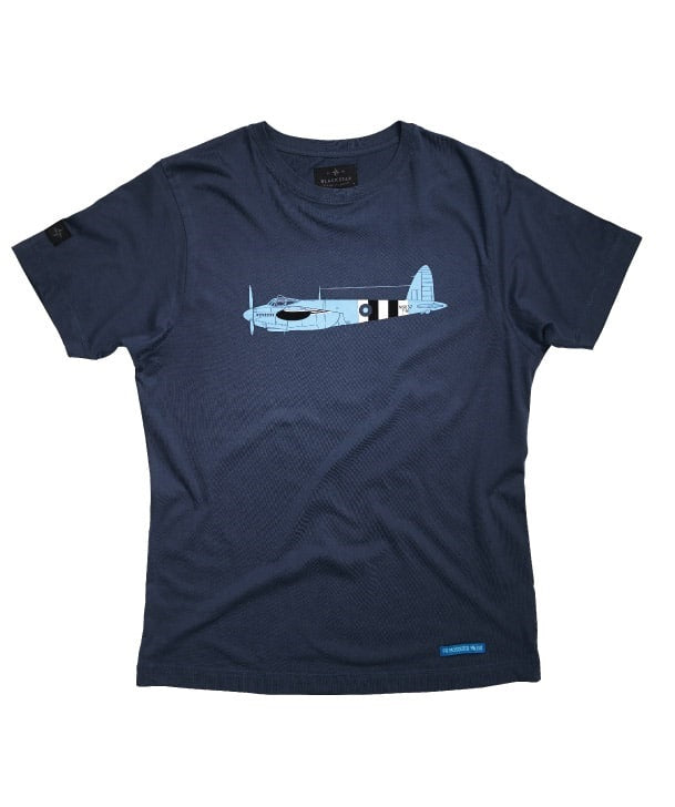 PR Mosquito Tee Shirt Front in Denim Blue