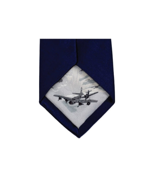 Silk tie featuring artwork depicting Stiger-Brown incident in navy