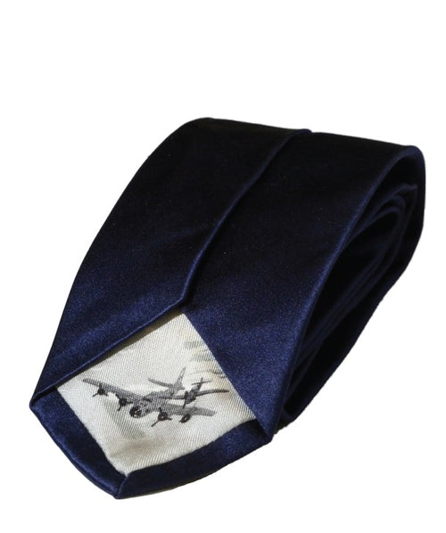 Navy coloured silk tie with aviation graphic on the tippingc