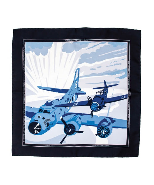 Silk pocket square with aviation graphic depicting the Stiger Brown incident in 1943