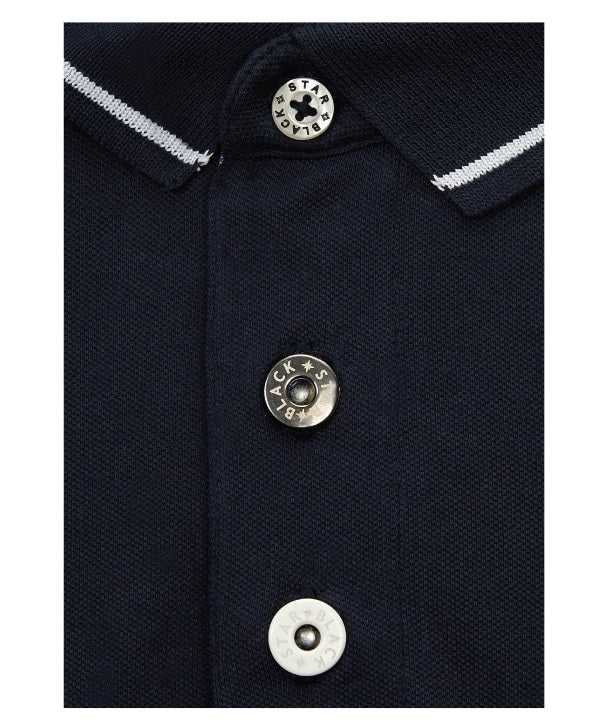 Supermarine S6 Air Racer Polo Shirt Placket Detail in Navy