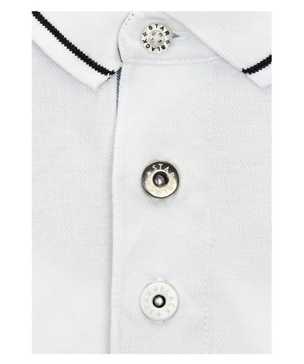 Air Racer Polo Shirt Placket Detail in White
