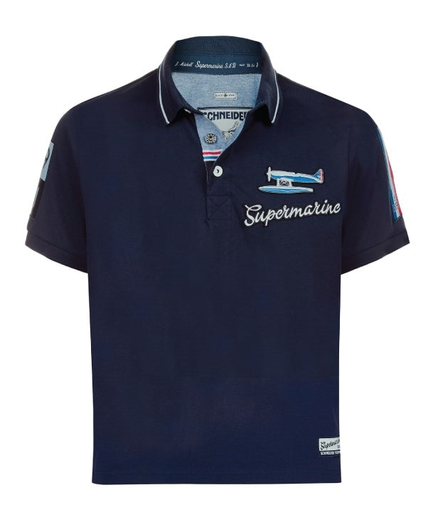 Supermarine S6 Air Racer Polo Shirt Front in Navy