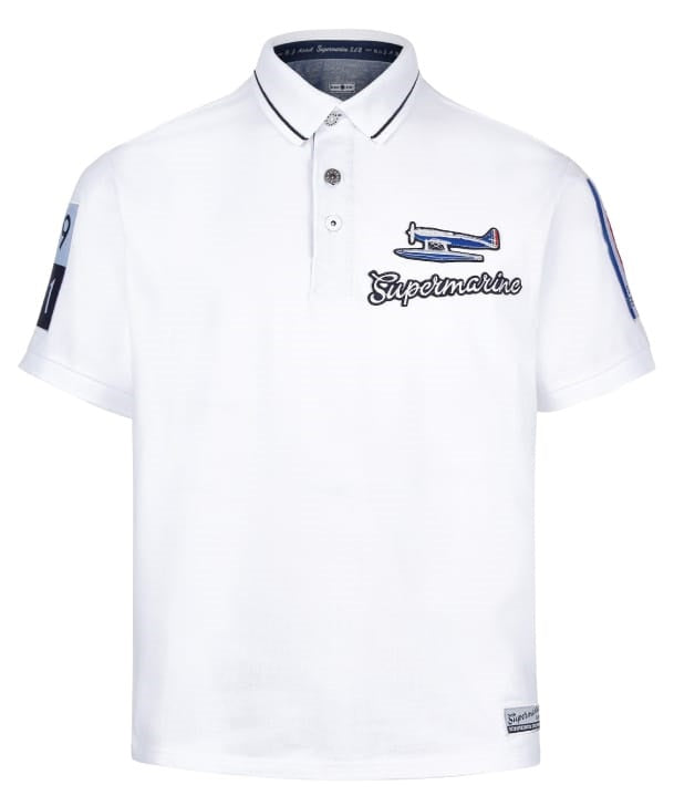 Supermarine S6 Air Racer Polo Shirt Front in White