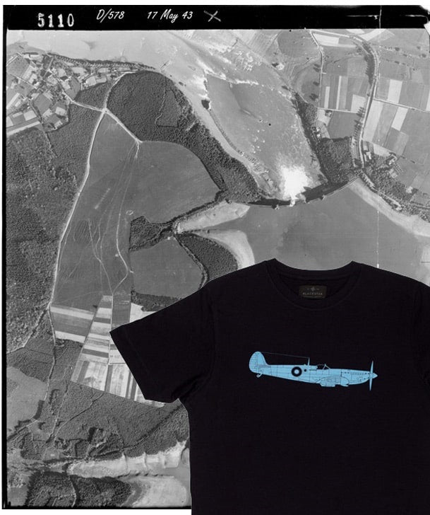 Aerial Photo of Mohne Dam after Dambusters Raid with PR Spitfire Tee Shirt Overlaid