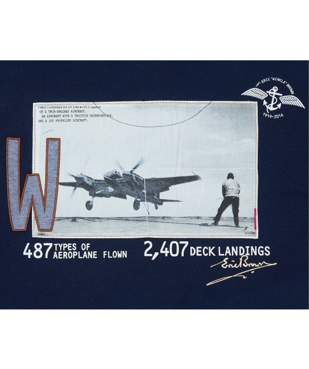 ERic WInkle Brown Polo Shirt back detail of Sea Hornet landing on HMS Ocaen