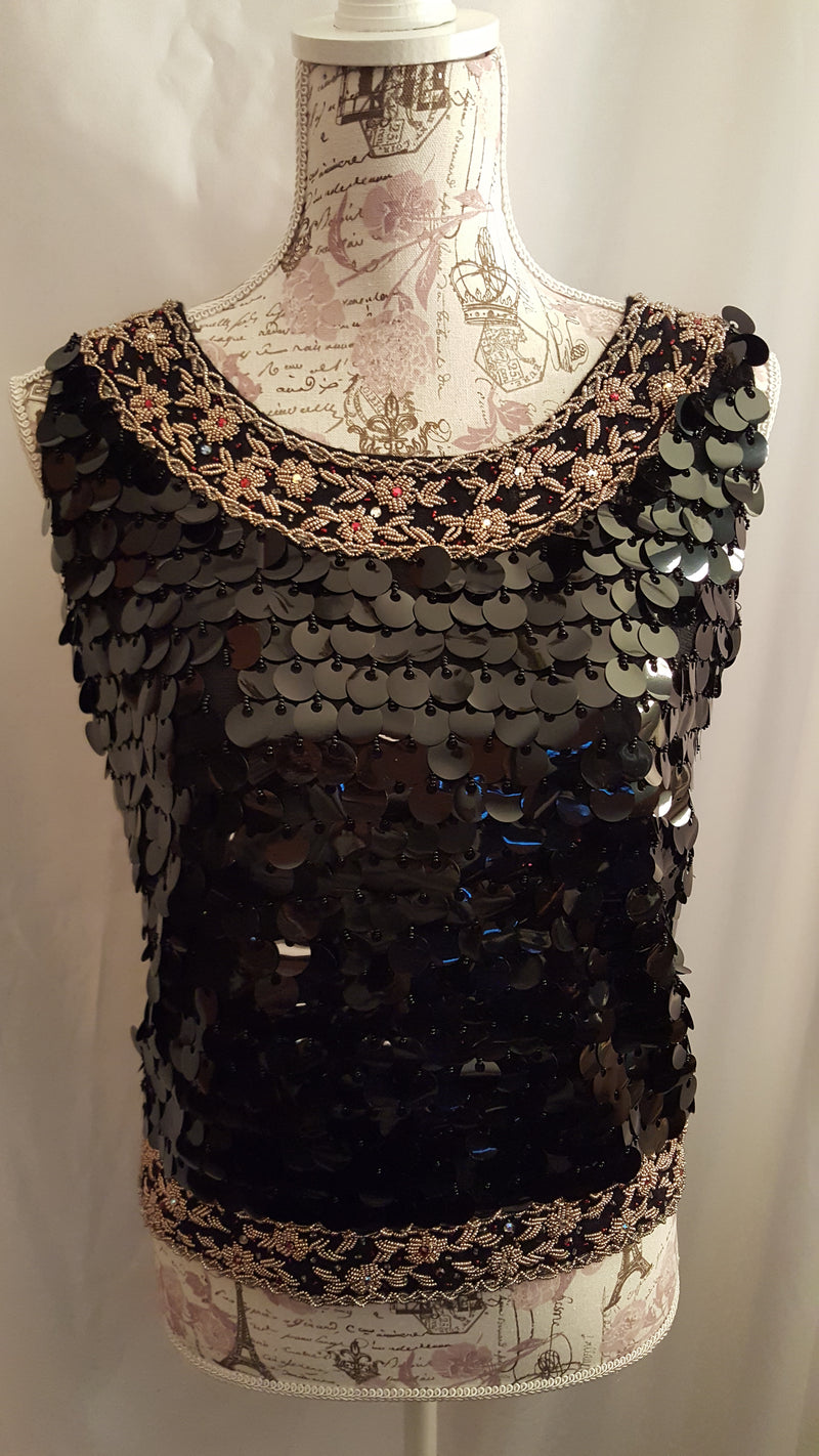 Beautiful Black and Gold Disco Top size 8