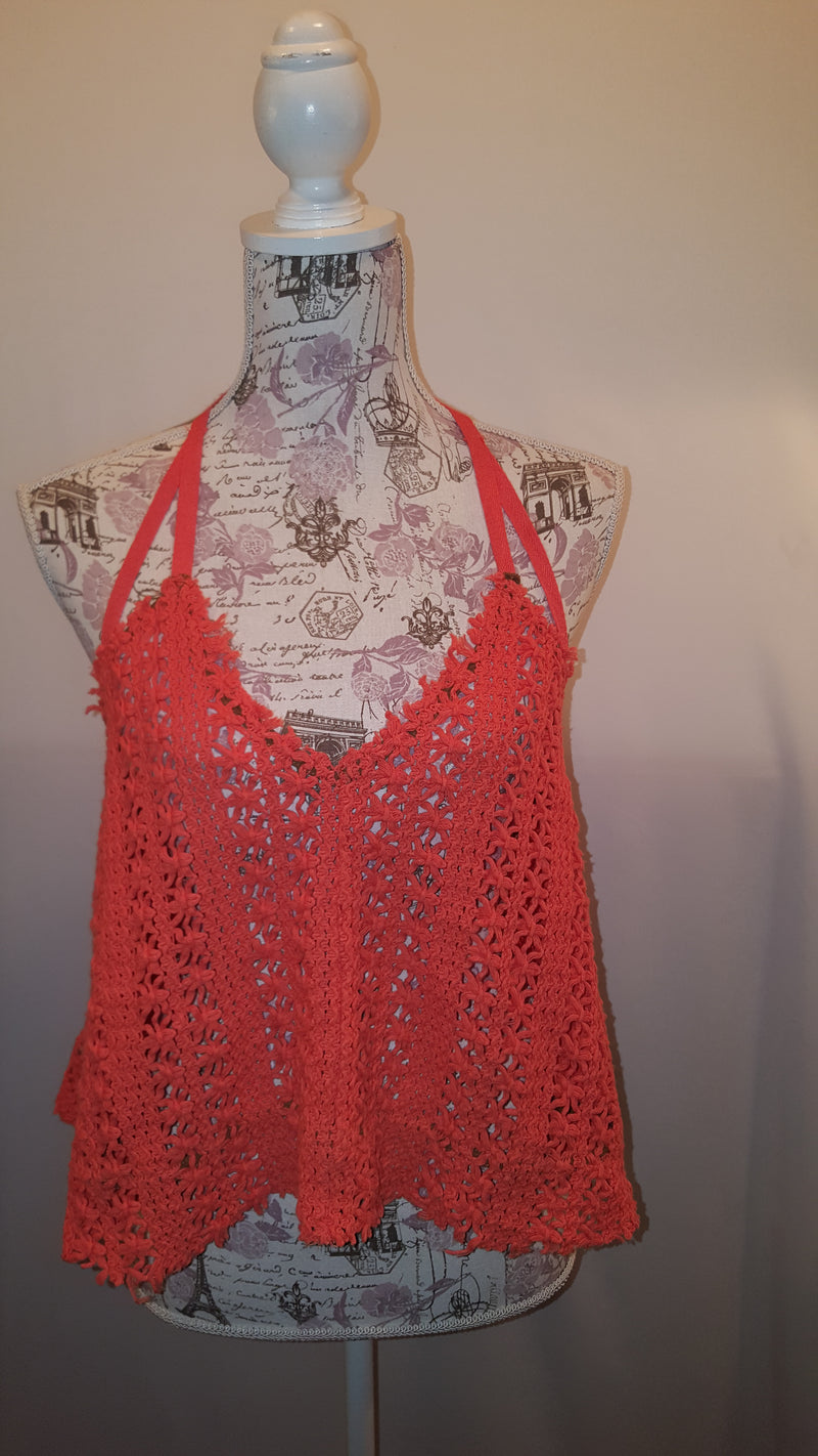 Free People Beach Orange Crochet Top size M
