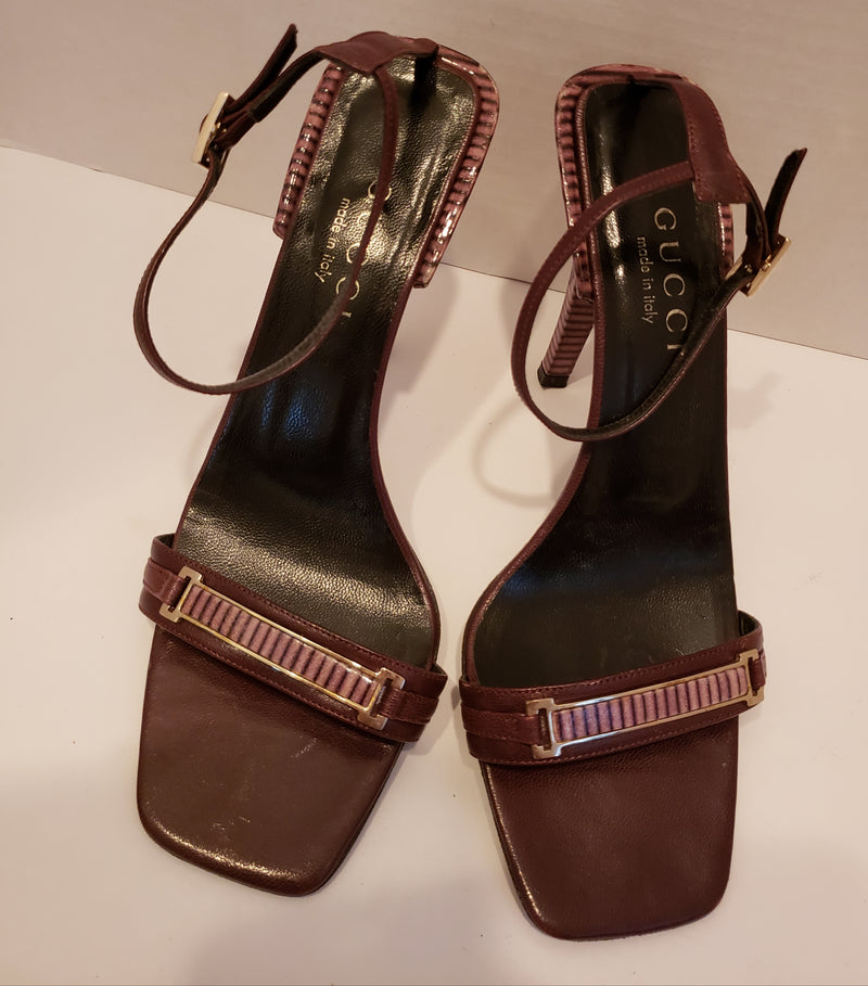 Gucci Brown Leather Sandal Size 6 1/2 B