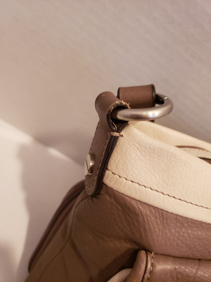 B. Makowsky Brown and White Crossbody