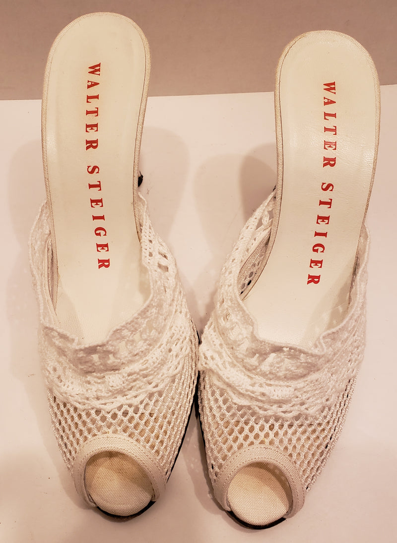 Walter Steiger White Crochet Shoes