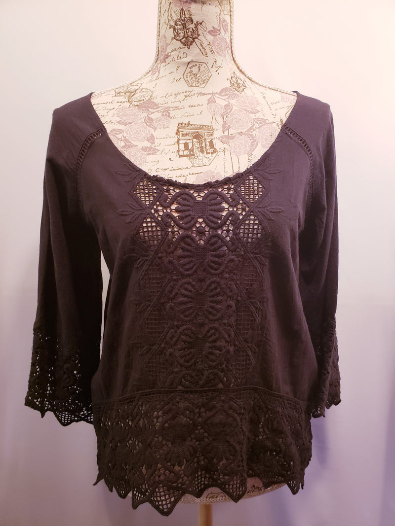 NEW Nightcap Black Lace Popover Shirt Size 2
