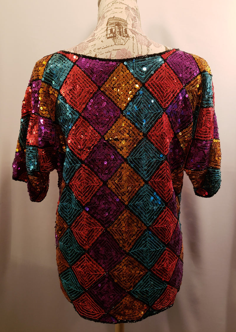 Scala Multi-color Sequin Top Size Large
