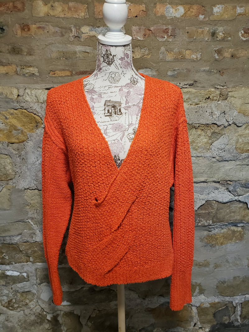 Free People Orange Knit Sweater Size XS