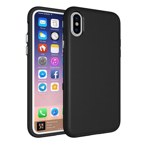 Fuse™ Matte Tough Textured Hybrid Rear Case Cover for Apple iPhone X & XS - Black
