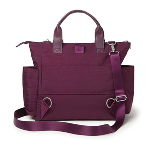 3-in-1 Convertible Backpack with RFID Phone Wristlet - Eggplant
