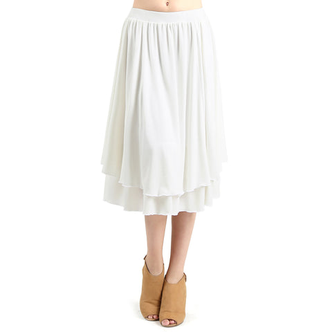 Evanese Women's Double Layered Scoop Top Layer Godet Contemporary A Line Skirt S, Creme