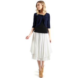 Evanese Women's Double Layered Scoop Top Layer Godet Contemporary A Line Skirt XS, Creme