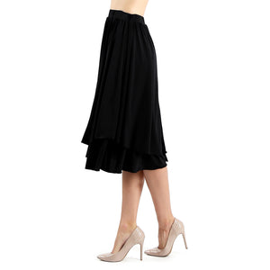 Evanese Women's Double Layered Scoop Top Layer Godet Contemporary A Line Skirt XL, Black
