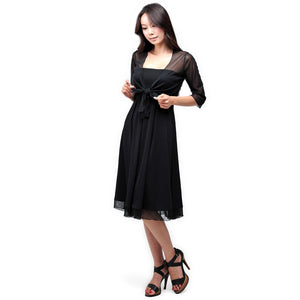 Evanese Women's 2 Piece See Through Waist Dress w/ 3/4 Sleeves Shrug - ellemore.com