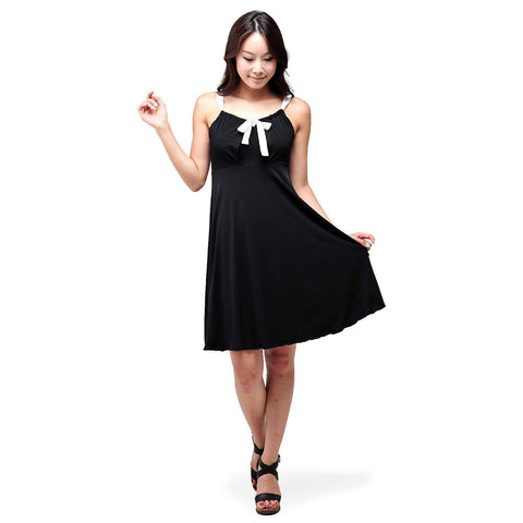 Evanese Women's cute ribbon mini dress - ellemore.com