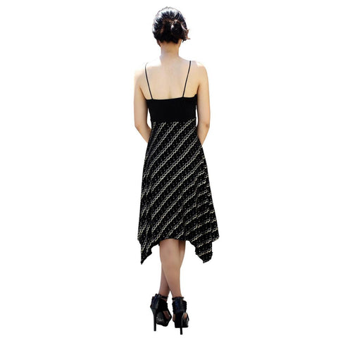 Evanese Women's Uneven Hankerchief Knee Length Skirt Glitter Cocktail Dress - ellemore.com