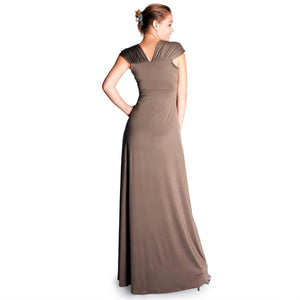 Evanese Women's Gathered Wide Shoulder Bands and Slim Center Piece Long Dress - ellemore.com