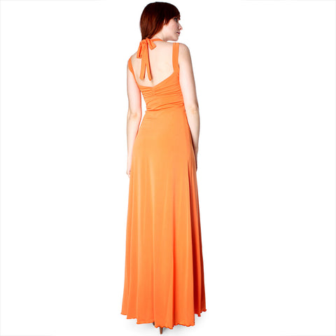 Evanese Women's Elegant Cross Tie Halter Long Formal Party Dress - ellemore.com