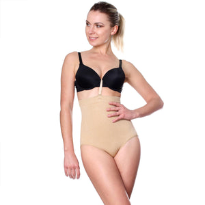 Prima Valentina Womens Stretch Black Tan Seamless Hi waist Control Brief Shaper - ellemore.com