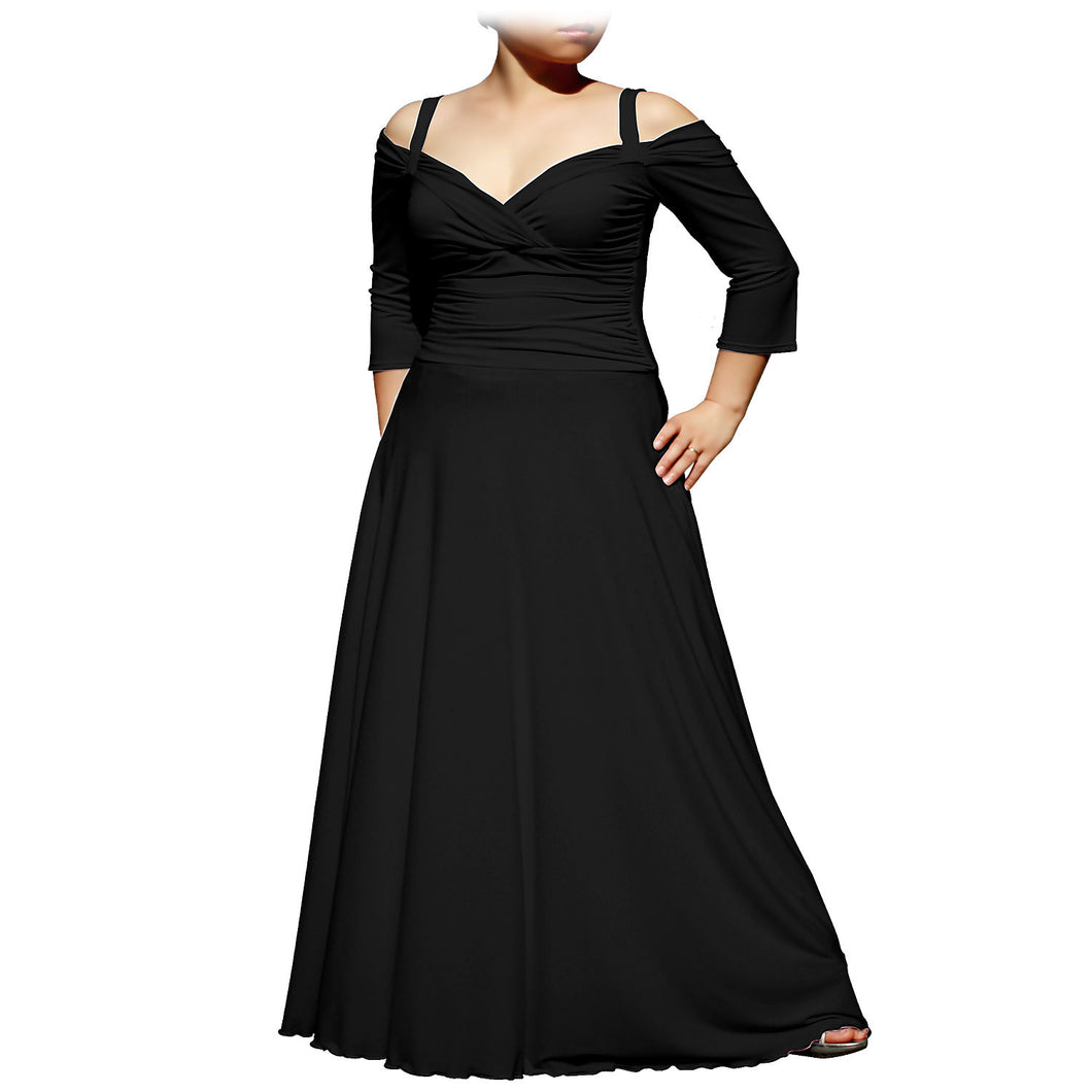 Evanese Women's Plus Size Elegant Long Formal Evening Dress with 3/4 Sleeves - ellemore.com