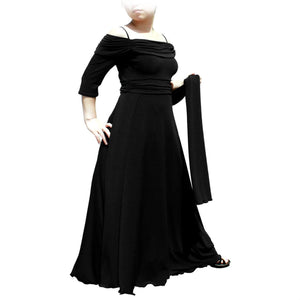 Evanese Women's Plus Size Formal Long Evening Dress 3/4 Sleeves and Side Flare - ellemore.com