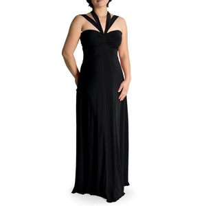 Evanese Women's Plus Size Elegant Cross Tie Halter Long Formal Party Dress - ellemore.com
